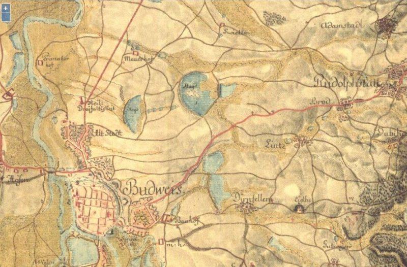Obrázek 1: Mapa z I. Vojenského mapování zlet 1764-1768